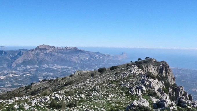 View from the summit towards the Sierra de Bernia and Calpe.